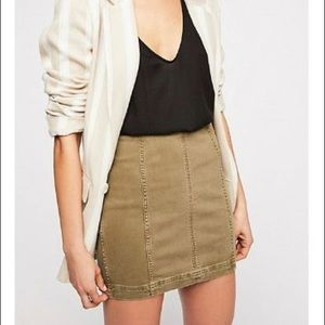 FREE PEOPLE army green modern femme skirt